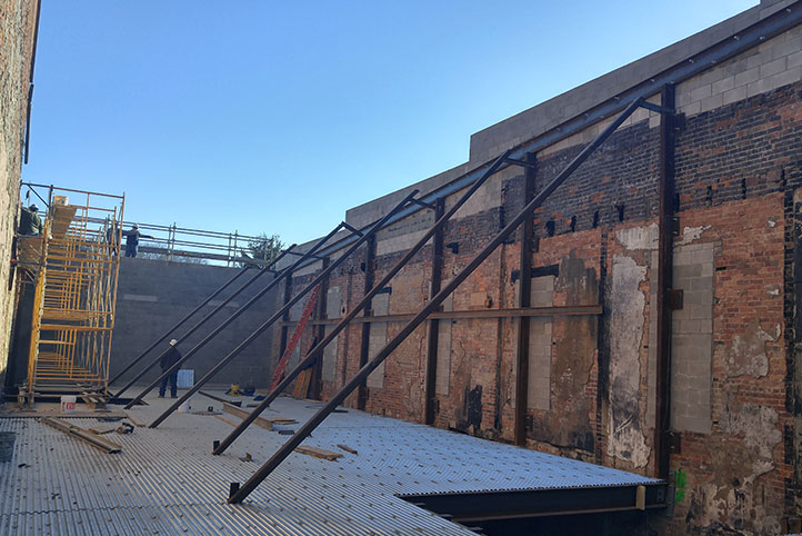 steel beams reinforcing a wall at the stuart opera house