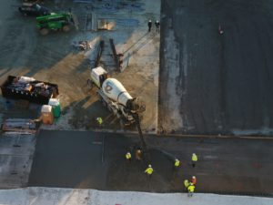 Aerial view SSRGs concrete pour at Rumpke job site