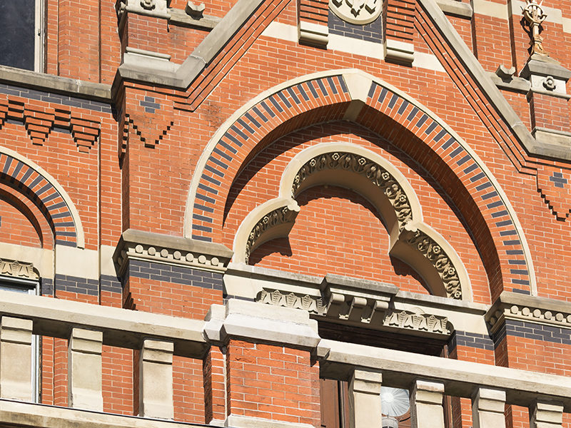 Detailed masonry work on the front of Cincinnati Music Hall.