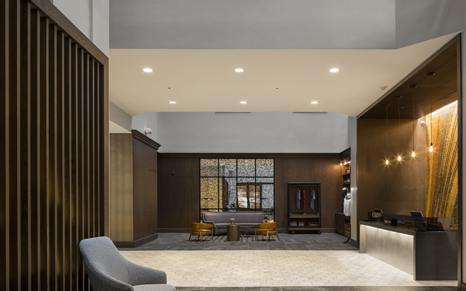 Large hotel lobby with high ceilings