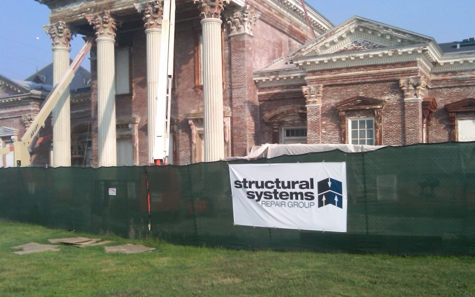 ssrg sign on fence in front of the renovation in progress on zorn pump station