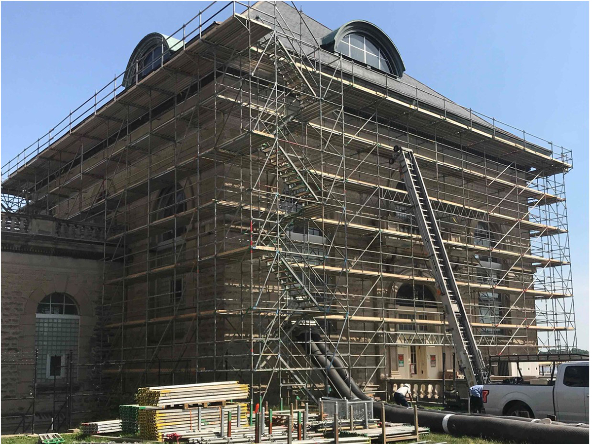 Scaffolding surrounding Zorn Pump Station 3