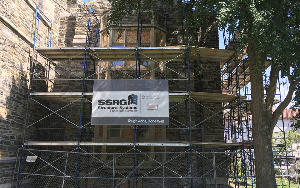 Exterior of First Congregational Church with scaffolding