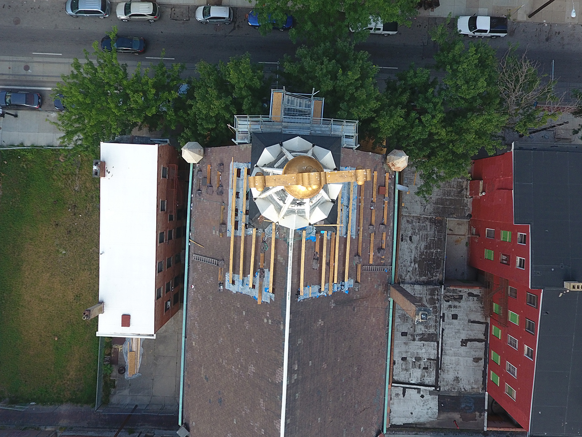 Construction images of steeple repair at Prince of Peace