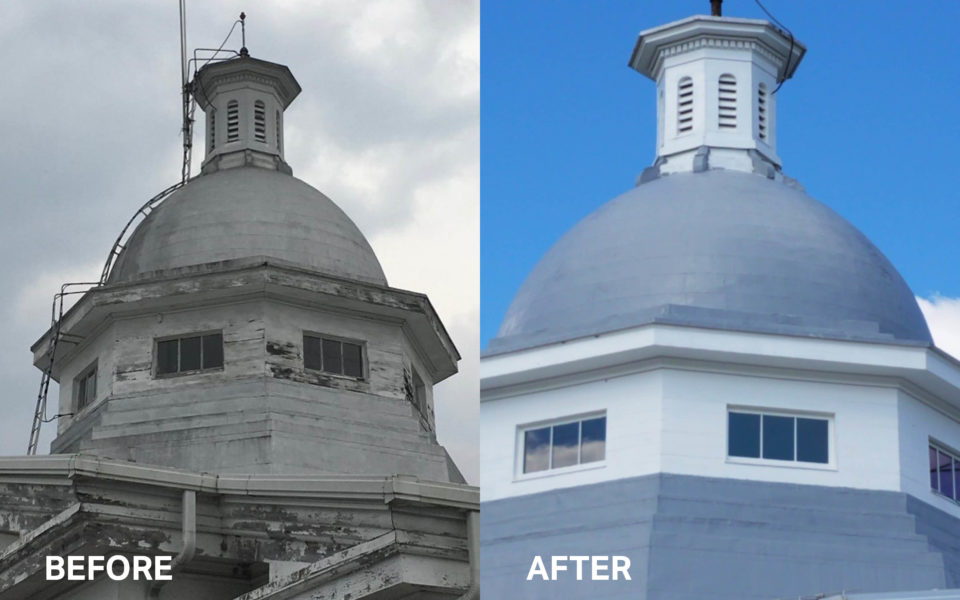 Before and after of Western State Hospital dome
