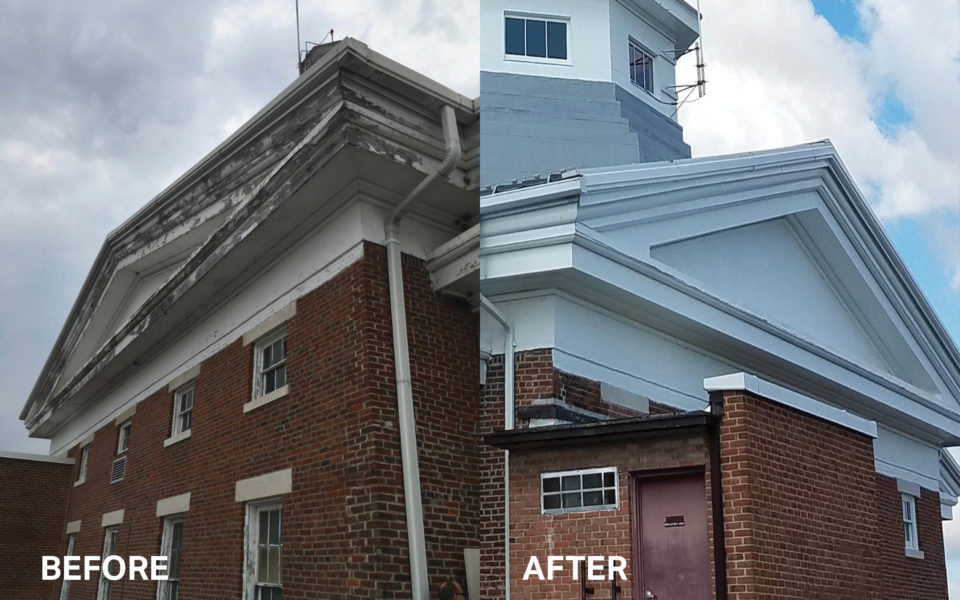 Before and after of Western State Hospital south elevation