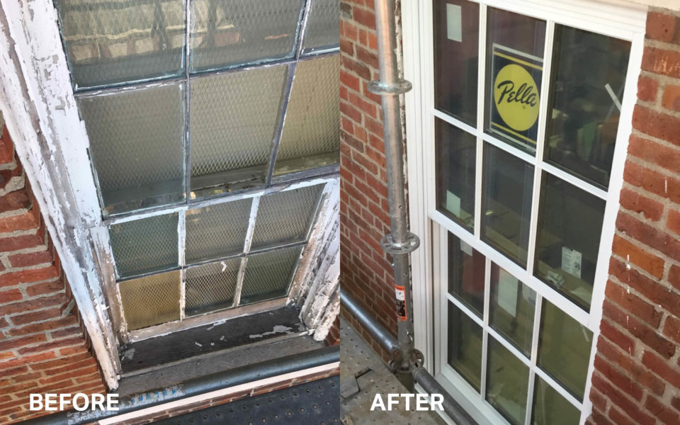 Before and after of Western State Hospital windows