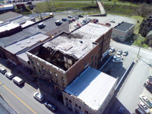 Aerial view of collapsed roof of Historic Daniel Boone Hotel in Whitesburg KY