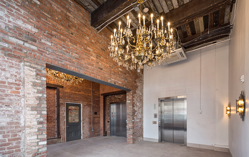 interior Strietmann Center with lots of exposed brick