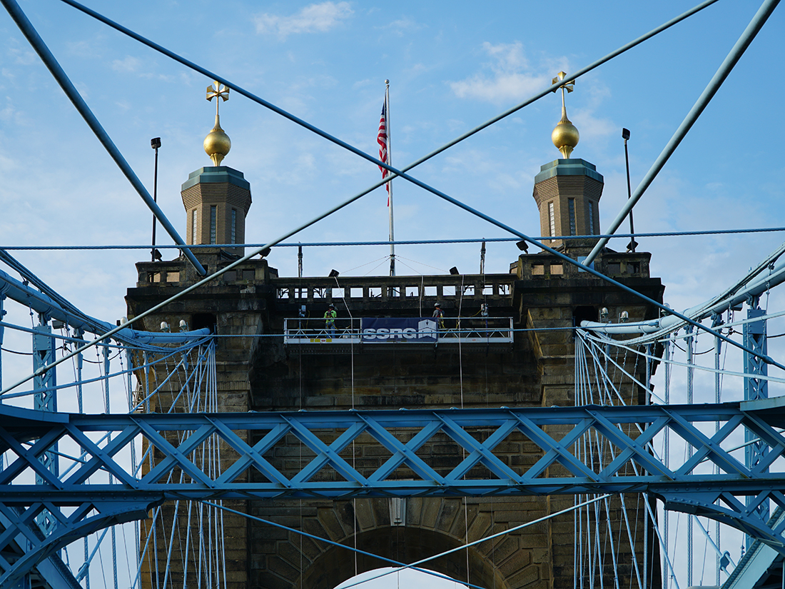 Construction on Roebling Bridge