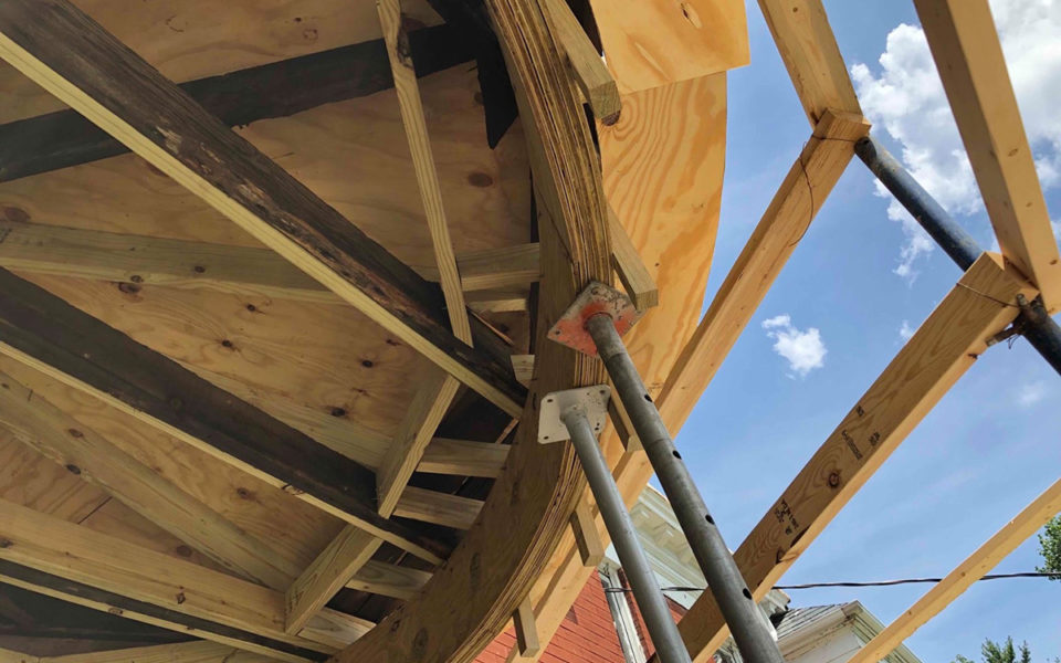 Repairs to curved roof beam at Rubel House
