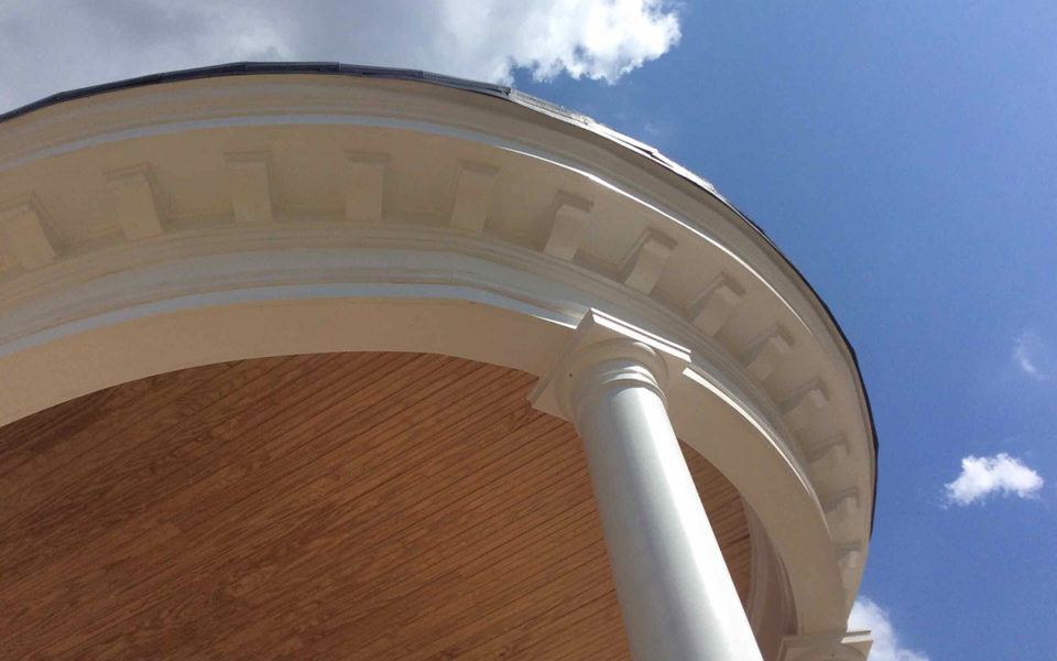 detail of curved porch roof at Rubel House