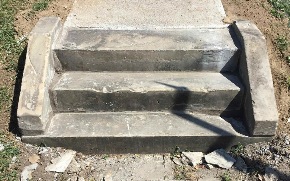 Repaired concrete stair at Rubel House
