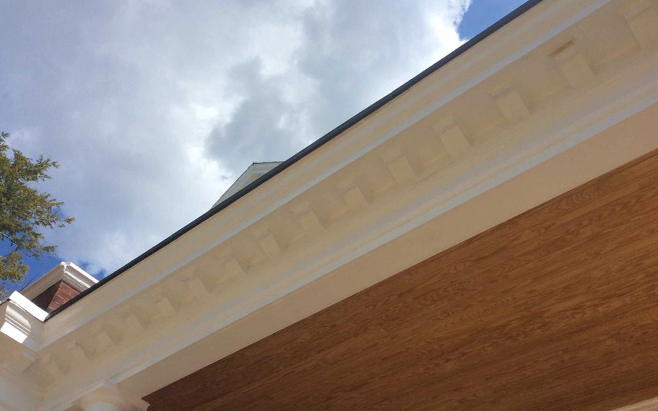 detail of repaired porch roof on Rubel House
