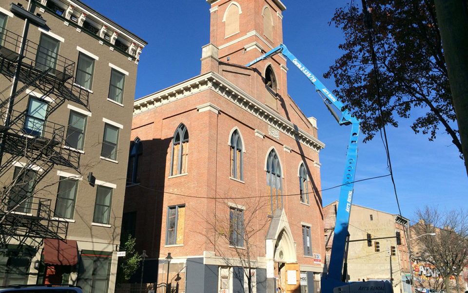 Exterior of St. Paul's Evangelical in progress to becoming Taft's Ale House