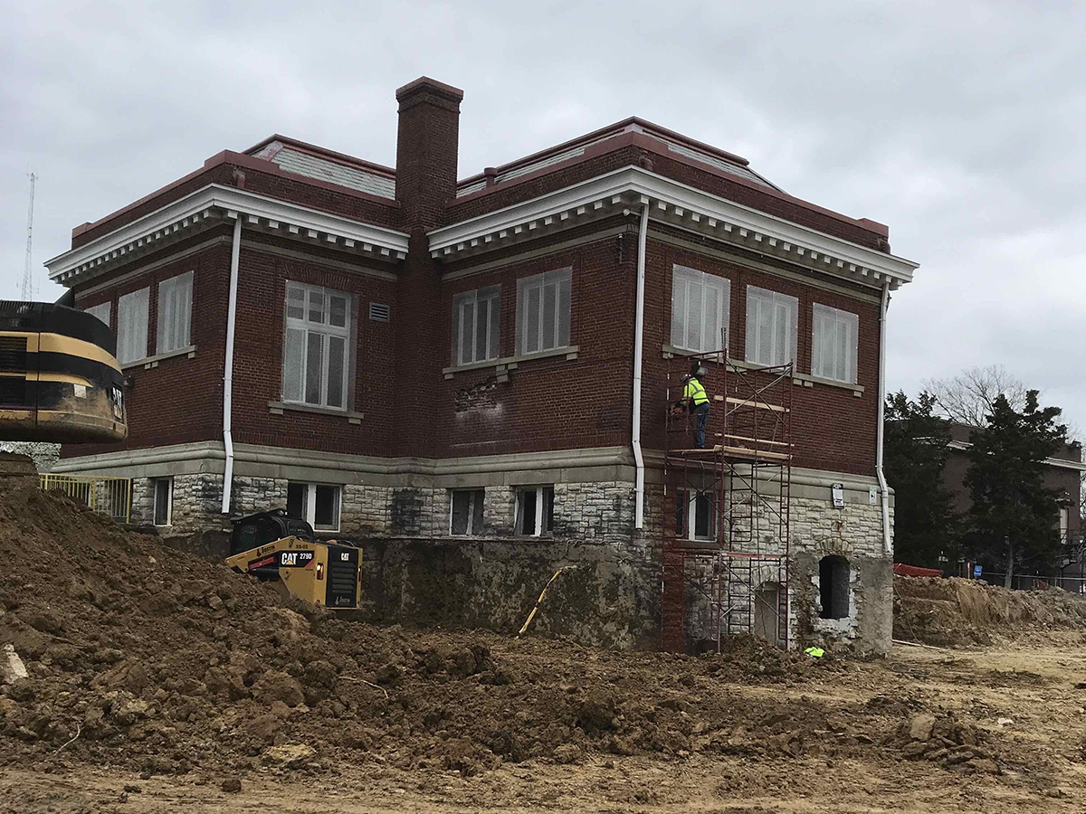 exterior of Price Hill Library under construction