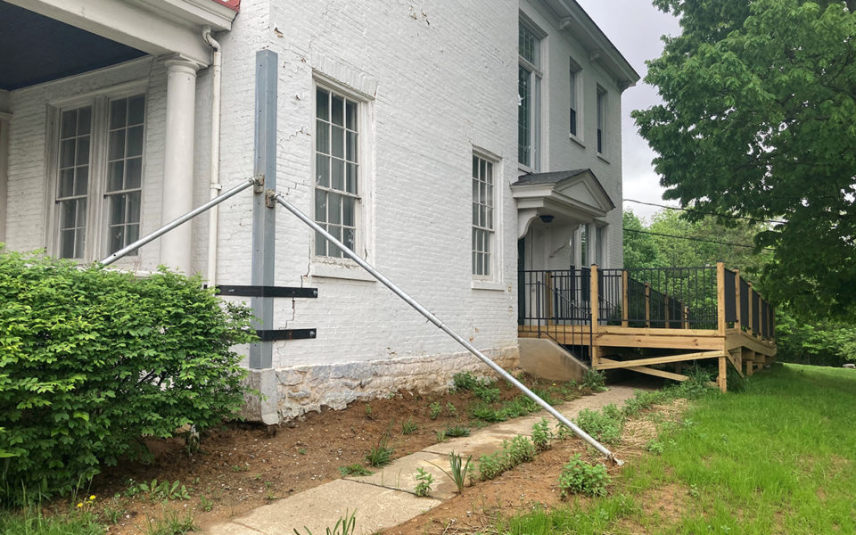 exterior of Stowe House with stabilization solution