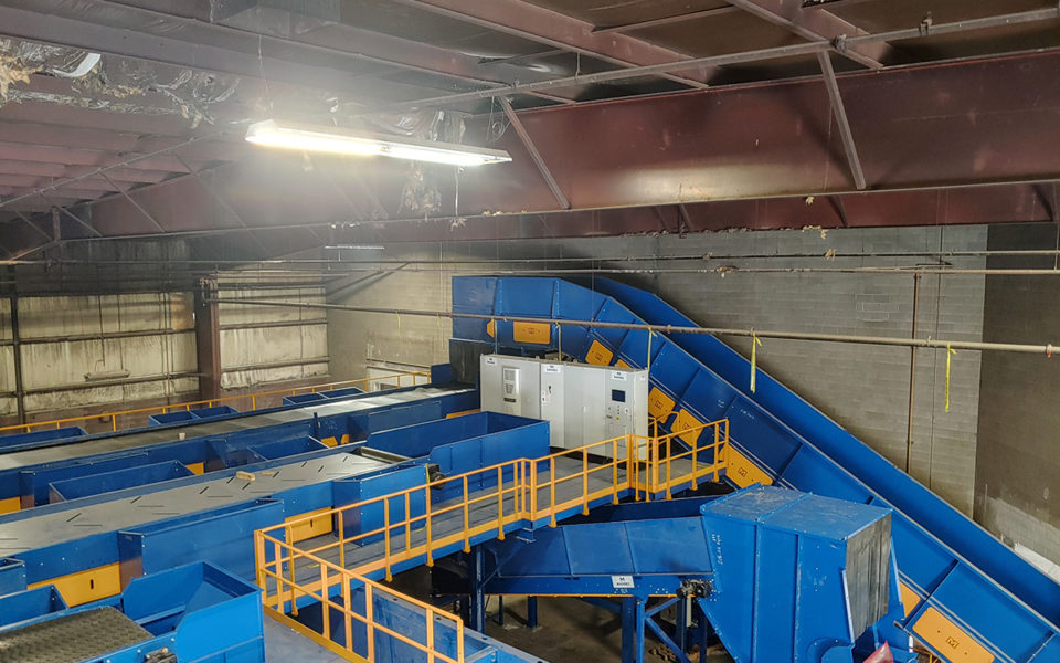 View of top of new recycling sorting machine