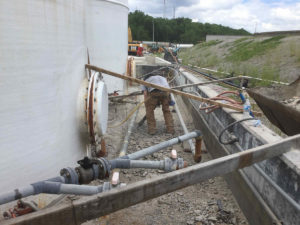 preparing for concrete repairs at Mill Creek wastewater treatment plant