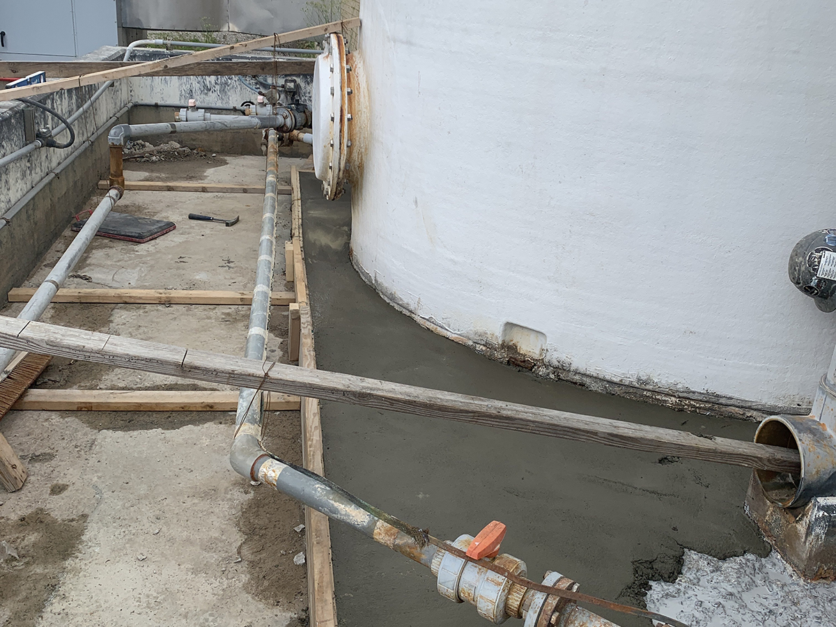 new concrete at Mill Creek wastewater treatment plant